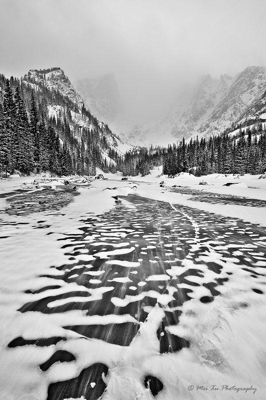 Snow Storm at Dream Lake (BW)